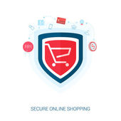 Set of flat design concept icons for secure online shopping. Teaser or splash screen illustration for safe the add to cart or payment transaction in e-commerce web site. — Stock Vector