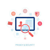 Set of modern flat design icons on the topic of online security, privacy protection and data safety. Spying computer bug under investigation lens on the user personal profile vector illustration. — Stock Vector
