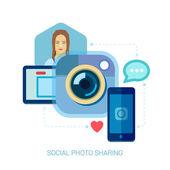 Sociální fotografie sdílení a selfie plochý design koncept ikony pro web a mobilní telefonní služby a aplikace. mobilní telefon aplikace pro foto a video sdílení vektorové ilustrace pojmy sada s ženou. — Stock vektor