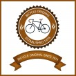 Bicycle Badge Vintage Style. Vector Illustration — Stock Vector