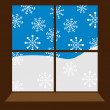 Stock Vector: Winter window
