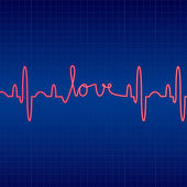Illustration of cardiogram with Love — Stock Photo