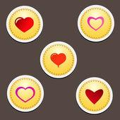 Conjunto de corazones rojos — Foto de Stock
