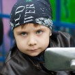 Young biker on a motorcycle — Stock Photo