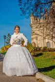 Happy bride in white dress like a princess. — Stock Photo