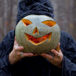 Stock Photo: Stranger has pumpkin instead of his head