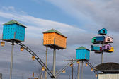 Сolorful birdhouses on a background of blue sky — Stock Photo