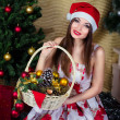 Beautiful girl with Christmas decorations — 图库照片