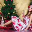 Beautiful girl with Christmas decorations — Stock Photo
