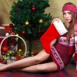Beautiful girl with Christmas decorations — Φωτογραφία Αρχείου