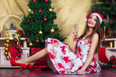 Beautiful girl with Christmas decorations — Stok fotoğraf