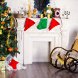 Rocking chair and Christmas tree — Stock Photo