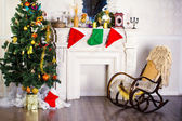 Rocking chair and Christmas tree — Stock fotografie