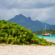 Tropical landscape: mountains, greenery and sea — Stock Photo #38655661