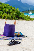 Beach bag and slippers with a tropical landscape — Foto de Stock
