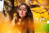 Beautiful girl in the autumn background — Stock Photo