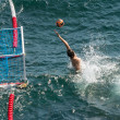 Water polo goalkeeper in action — Stock Photo