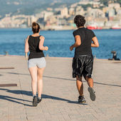 Jogging in the port — Stock Photo