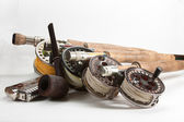 Fly rods and flask — Stock Photo