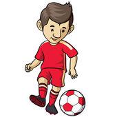 Fútbol niño de la historieta — Vector de stock