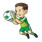 Caricature de soccer kidpiłka nożna dziecko kreskówki — Wektor stockowy