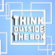 Think outside box blue — Stockfoto