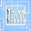 Think outside box blue — Stock Photo