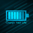 Foto de Stock  : Charge Your Life Glowing Blue Background
