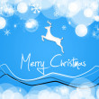 Merry christmas card blue deer — Stock Photo #32930429