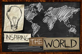 Inspiring The World on Blackboard — Stock Photo