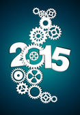 2015 Mechanical Gear dark blue background — Stock Photo