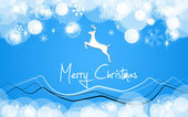 Merry christmas card blue deer — Stock Photo