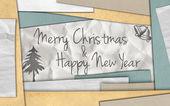 Feliz navidad año nuevo tarjeta de papel — Foto de Stock