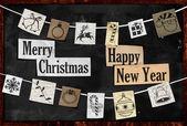 Závěsné vánoční pozdrav papíru ornament — Stock fotografie