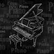 Piano Drawing on blackboard music wallpaper — Stock Photo