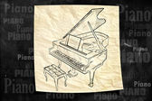 Piano Paper Drawing on blackboard — Stock Photo