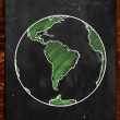 Green Earth on Blackboard — 图库照片