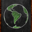Green Earth on Blackboard — Stockfoto