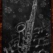 Stock Photo: Saxophone Christmas sketch on blackboard