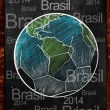 Earth Ball Brasil on blackboard — 图库照片