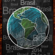 Earth Ball Brasil on blackboard — Stock Photo