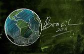 Brasil 2014 Earth Ball Sketch — Stock Photo