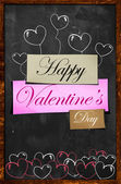 Happy Valentine's Day on Blackboard — Stock Photo