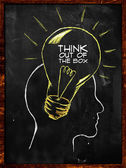 Think out of the box sketch on blackboard — Foto Stock