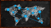 World Dot Blue Connection on Blackboard — Stock Photo