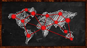World Dot Red Connection on Blackboard — Stock Photo