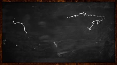 World sketch green painting on Blackboard Looping Animation — Stockvideo