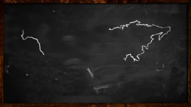 World sketch White painting on Blackboard Looping Animation — Vídeo Stock