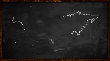 World sketch White painting on Blackboard Looping Animation — Video Stock