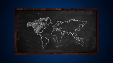 World Dot Blue Connection on Blackboard — Stock Video